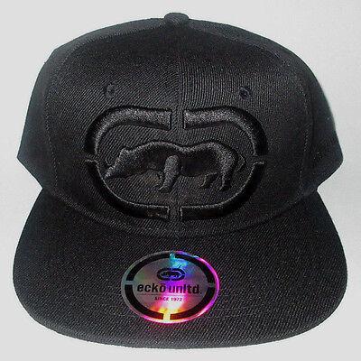 MENS ECKO UNLTD RHINO SOLID BLACK HAT SNAPBACK ADJUSTABLE CAP ONE SIZE