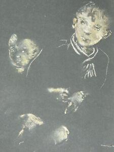 Ilustración Firmada Ber ? Lito 29cm sobre Fondo Negro