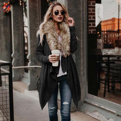 Women/'s Knitted Sweater Coat Jacket Warm Fur Collar Cardigan Jumper Tops Outwear