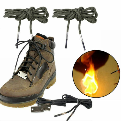 """55/"""" Hiking Flint Fire Flame Boot Shoelaces Outdoor Survival Lighter String Ropes"""
