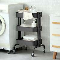 Kitchen Rolling Trolley Cart Storage Shelf Utility Service Dining With Casters