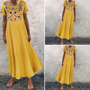 VONDA-Summer-Women-Floral-Printed-Kaftan-Sundress-Casual-Vintage-Long-Maxi-Dress