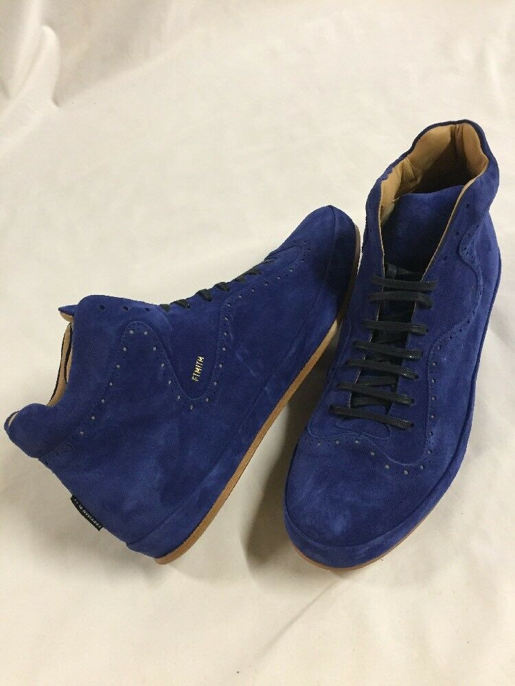 Freeman Plat COURT MID Men's Leather Boot  SNEAKERS shoes Size 11 bluee EUR 44