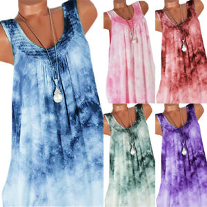 Womens-Gradient-Sleeveless-Loose-Vest-Dress-Tank-Top-Summer-Beach-Shirt-Sundress
