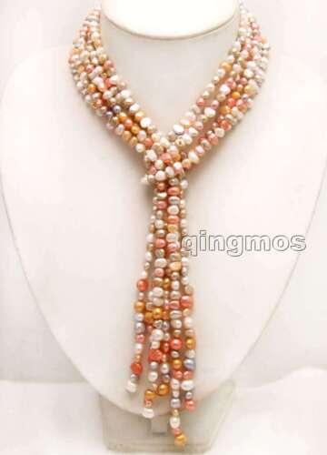 "45/"" 6-7 mm Naturel Rose Perle Baroque 3 brins Femmes Collier /& CORAIL ROUGE perles"