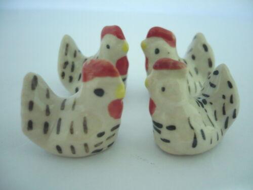 1 Tiny White Hen  Family Dollhouse Miniatures Animal Garden