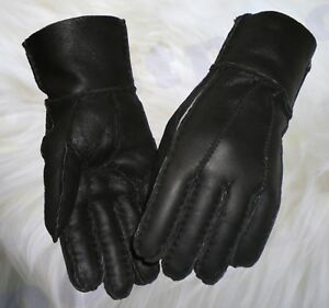 b89de09965f74 LADIES Womens 100% GENUINE SHEEPSKIN REAL NAPPA LEATHER GLOVES Black ...