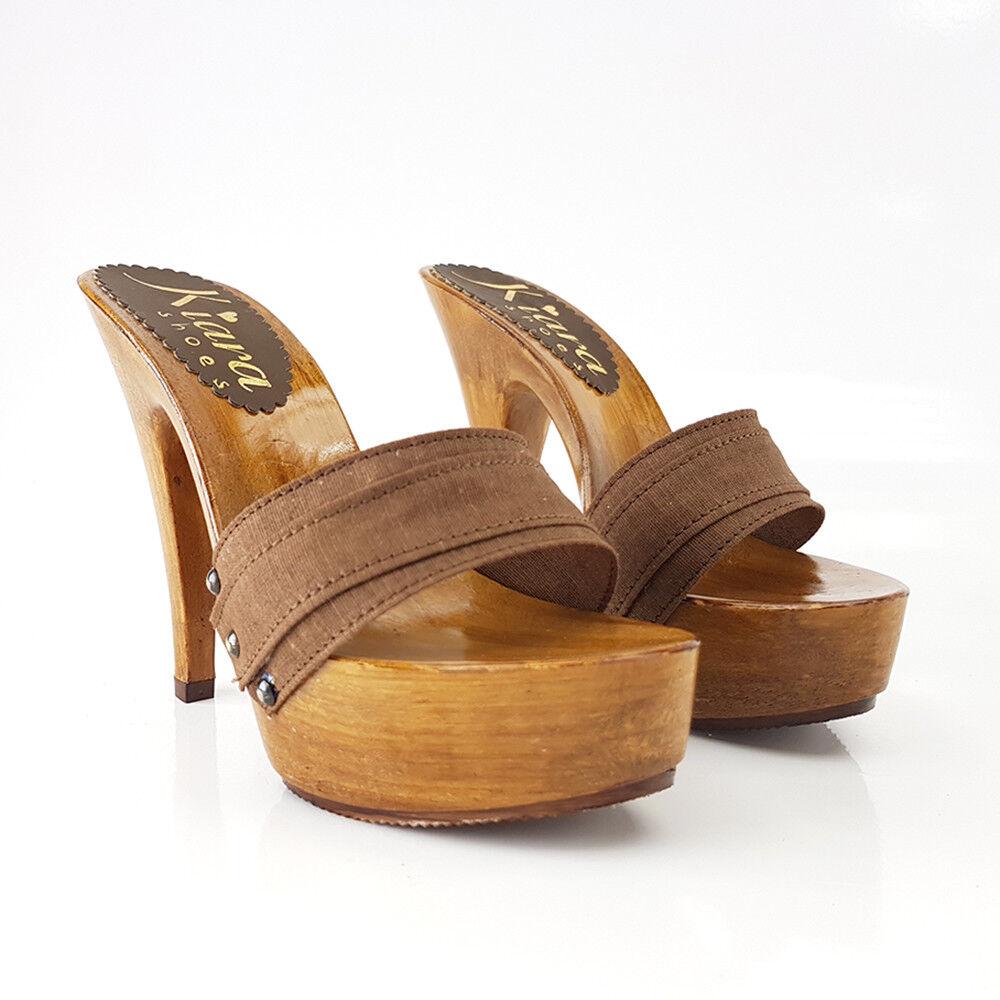 CLOGS WOMAN HIGH Brown HIGH HEEL SHOES SANDALS PLATEAU-K9101 brown