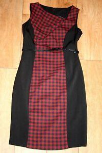 NEW-Wool-look-dress-SIZE-8-36-pencil-tartan-office-festive-bodycon-50-039-s-lined