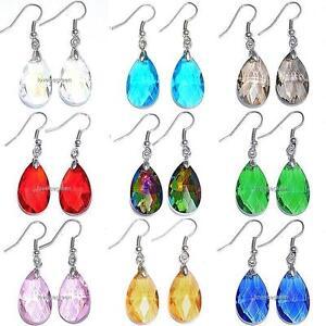 Faceted-Teardrops-Crystal-Glass-Beads-Drop-Dangle-Earrings-Earwires-Ear-Hooks
