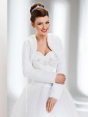 New Womens Wedding Faux Fur Jacket Bridal Wrap Shrug Bolero Coat Shawl Size 6-18