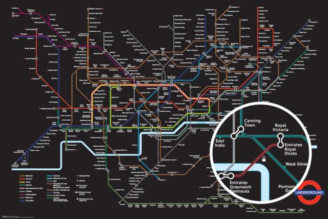 Transport For London Black Map Schwarze Karte Poster 91x61,5 cm