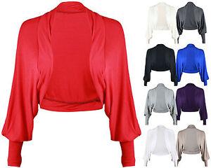 New Ladies Women Batwing Shrug Long Sleeve Jersey Bolero Cardigan Top Size 8-26