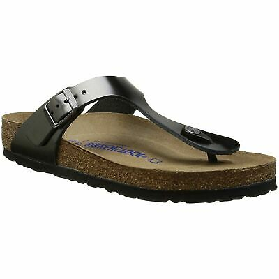 Birkenstock Gizeh Metallic Anthracite Womens Leather Soft Footbed Thong Sandals | eBay