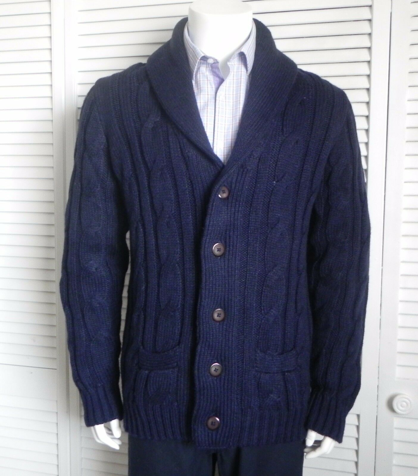 NEW Mens SIZE 3XL ALPACA Navy bluee Shawl Collar Cable Cardigan Knit Sweater PERU