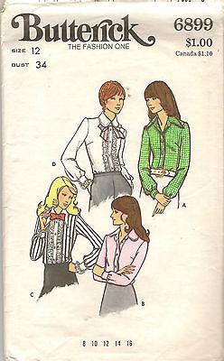 Vintage Butterick Ruffled Tuxedo Shirt Sewing Pattern 6899 Size 12 Bust 34