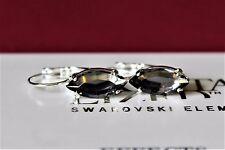 Black Diamond Navette Leverback Earrings made with Swarovski Crystal Elements