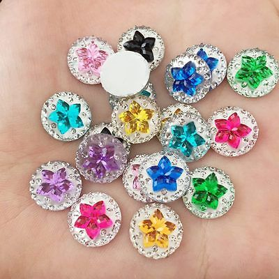 DIY 30PCS 12mm round Resin flower Flatback Rhinestone scrapbook Wedding Buttons