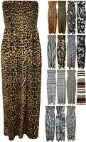 New Womens Print Shirred Sleeveless Bandeau Boobtube Ladies Long Maxi Dress 8-14