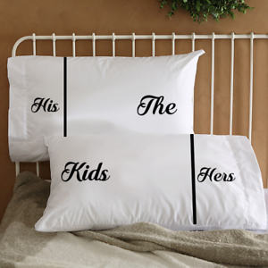 image is loading his hers amp the kids couple pillowcases funny