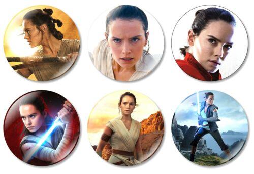 6 x Star Wars Rey 32mm BUTTON PIN BADGES Jedi Rebel Kylo Ren Skywalker Movie Toy