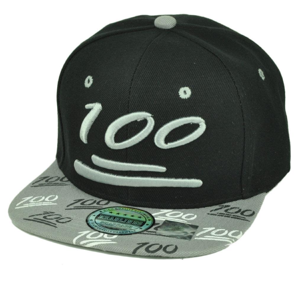 100 One Hundert Emoji Emoticons Symbol Flache Bill Hut Cap Snapback Schwarz Grau