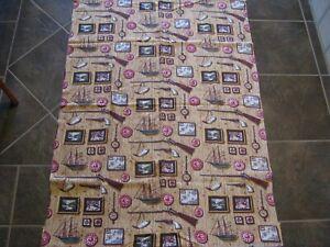 "Vintage Barkcloth Drapes- 2 Panels-49"" x 31""-Manly Print Excellent Condition"