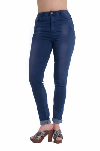 New Women/'s Girls High Waisted Faded Denim Jean Ladies Pants Trousers UK Sizes