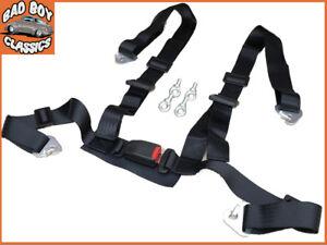 4-Point-Black-Car-Racing-Bucket-Seat-Belt-Harness-Adjustable-Universal-Design