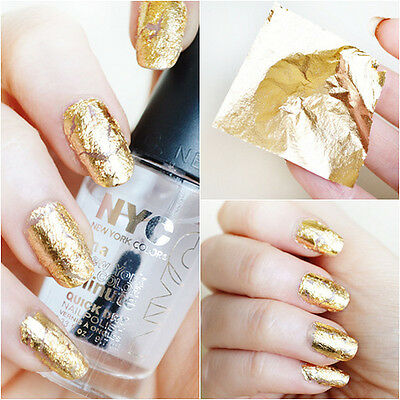 Gold Leaf Nail Art, 20 sheets Imitation 24kt gold, Gilding Nail Art Foil