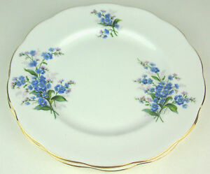 2-x-Salad-Plates-8-1-8-034-Royal-Albert-Forget-me-not-green-crown-stamp-bone-china