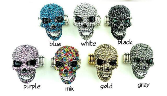 Trendy Ring Skull Strass Totenkopf Strech Einheitsgröße Luxus Gothik Biker