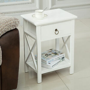 White Wood Sofa End Side Bedside Table Nightstand Storage Bedroom ...