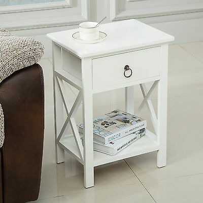 White Wood Sofa End Side Bedside Table Nightstand Storage Bedroom w/Drawer Shelf