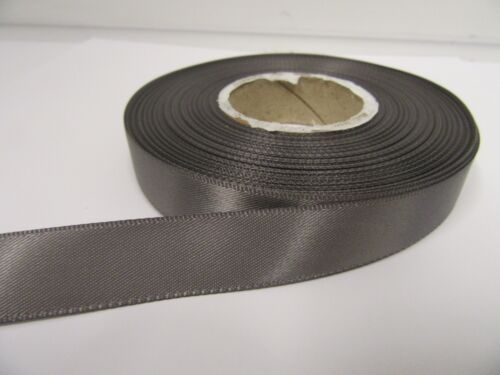 3mm 7mm 10mm 15mm 25mm 38mm 50mm GUN METAL DARK GREY Satin Ribbon double sided