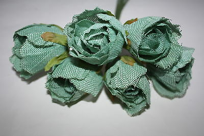 6 x DEEP AQUA / PALE TEAL  HESSIAN BURLAP ROSES FLOWERS 5cm  RUSTIC WEDDING