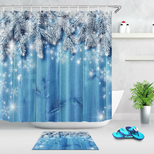 "Blue Wood Board Plank Snowflake 71X71/"" Shower Curtain Fabric Bath Mat Set Liner"