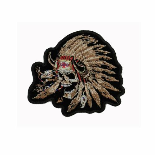 Biker Chopper Moto Indian Skull Teschio Indiano aufbügler ricamate patch