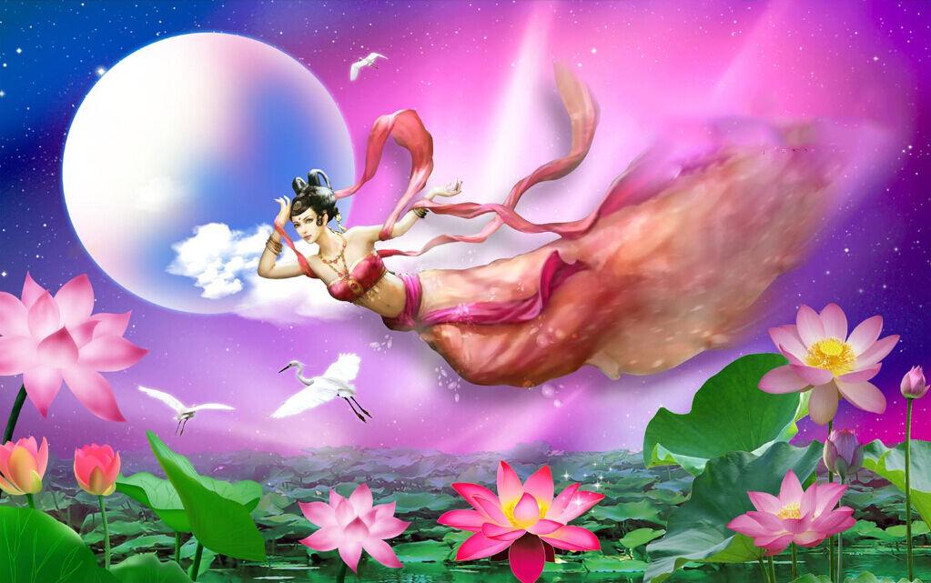 3D Goddess Flying Moon Paper Wall Print Decal Wall Wall Murals AJ WALLPAPER GB