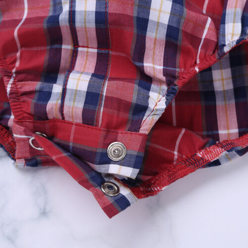 Toddler Baby Boys Plaid Button-up Shirt Romper Jumpsuit Playsuit Casual Sunsuit