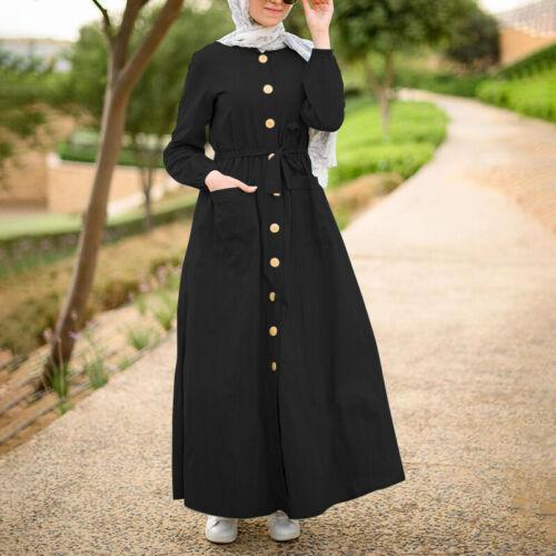 ZANZEA Damen Elegant Muslim Kleid Langarm Shirtkleid Abaya Kaftan Gürtel Tasche