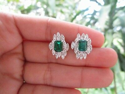 .36 Carat Diamond with Tourmaline White Gold Earrings 14K sep013