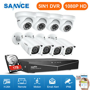 SANNCE-1080P-Security-Camera-Bullet-Dome-8CH-5IN1-DVR-White-Black-Cams-System-HD