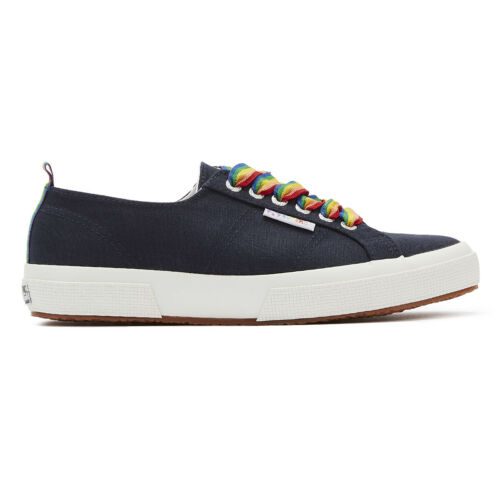 Superga 2750 Cotw Rainbow Pop Womens Navy Trainers Ladies Casual Shoes