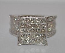 1 1/2 TCW Big Bling PRINCESS CUT DIAMOND RING 14K White Gold HUGE & HEAVY 12.5gr
