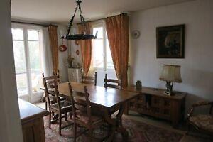 Table en chêne massif et ses 6 chaises en paille, bois