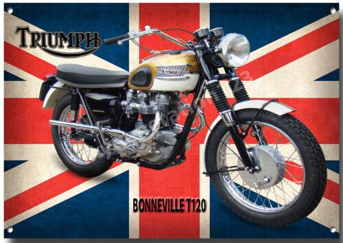 TRIUMPH BONNEVILLE T120 GOLD BIKE MOTORCYCLE METAL SIGN. CLASSIC BIKES A3