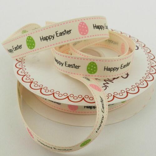 poussins Oeufs de Pâques Par mètre mignon Joyeuses Pâques ruban bunny 16 mm /& 9mm