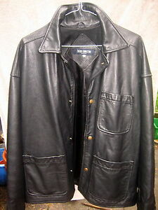 Men-039-s-thick-and-heavy-French-Connection-black-casual-leather-jacket-coat-size-M