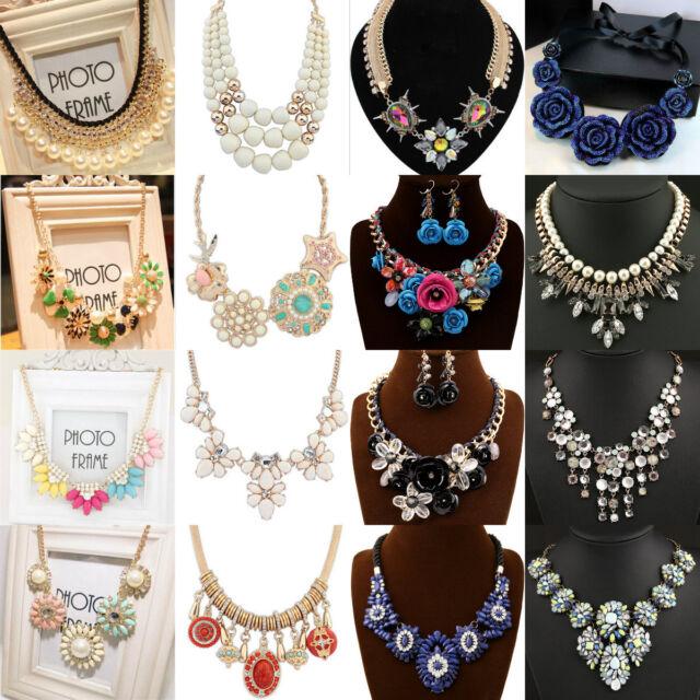 Charm Fashion Bubble Chain Crystal Choker Chunky Bib Necklace Wild party